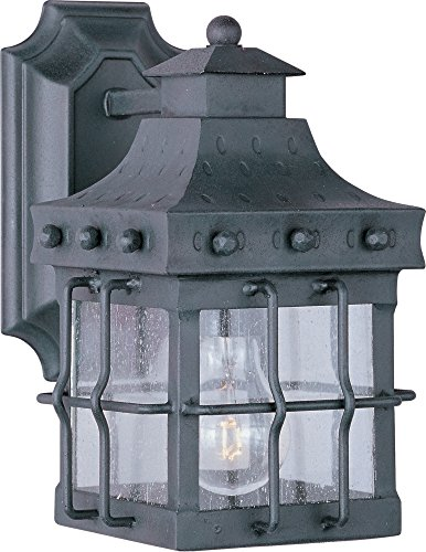 - Maxim 30081CDCF Nantucket 1-Light Outdoor Wall Lantern, Country Forge Finish, Seedy Glass, MB Incandescent Incandescent Bulb , 100W Max., Dry Safety Rating, Standard Dimmable, Glass Shade Material, 5750 Rated Lumens