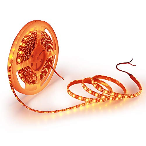 ALITOVE 16.4ft 5050 SMD Black PCB Orange LED Flexible Strip Light lamp 5M 300 LEDs Waterproof IP65 12V DC for Home Hotels Clubs Shopping malls Cars Lighting
