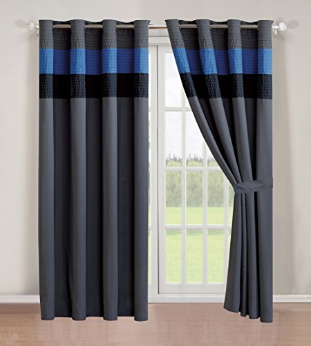 4 - Piece Luxury Stripe Grommet Navy Blue / Grey / Black curtain set / Drapes / Window Panels 120 Wide X 84 Tall