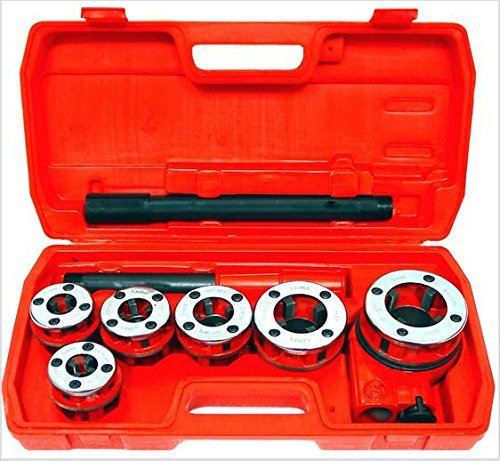 (New Ratchet Pipe Threader Kit Set Ratcheting W/5 Dies and Case Gas,hand Pipe Threader Die Tool Set)
