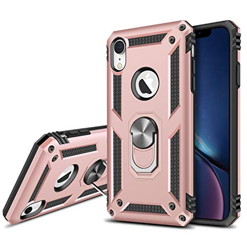 WOLLONY iPhone XR Case,Hybrid Heavy Duty Shock Absorbing Cover with Metal Ring Kickstand Dual Layer TPU + PC Anti-Scratch Non-Slip Rugged Armor Case for iPhone XR 6.1