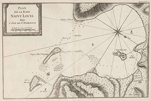 Chart Atlas | 1764 Plan de la baye Saint Louis dans I'isle de St Domingue. | Historic Antique Vintage Map Reprint