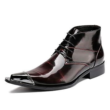 Cordones Zapatos De Con Hombres Cuero Clásico Botas Vaquero Botines PBnwxUH