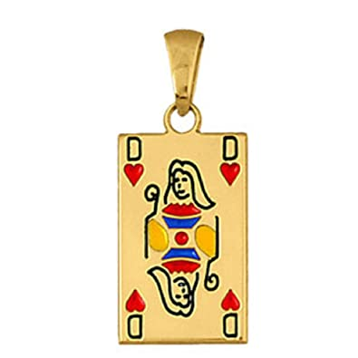 Helios Jewelry Pendant Poker Card Queen Of Hearts Gold Plated