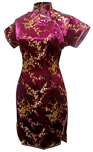 (7Fairy Women's Burgundy Floral Mini Chinese Evening Dress Cheongsam Size 8 US)