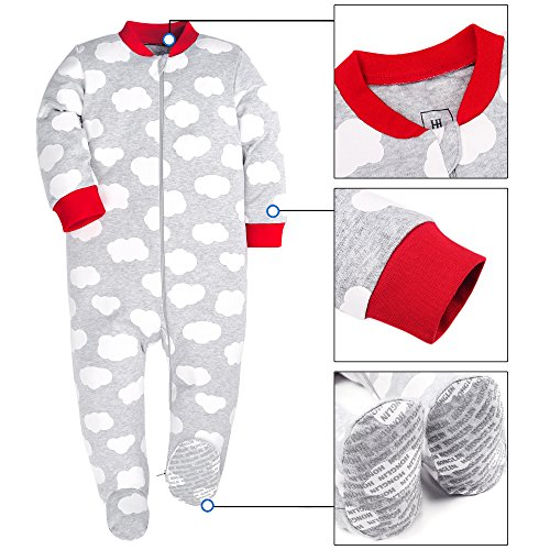 HONGLIN Baby Boys 2-Pack Footed Baby Pajamas Sleepers Rompers 100% Cotton Non-Slipping Sole (Dinosaur+Plane, 12-18 Months) by HONGLIN (Image #3)