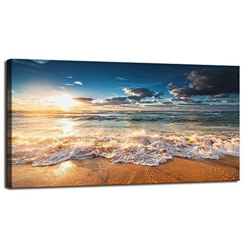 The Sea Canvas Prints Wall Art Beautiful sunrise Beach Pictures Photo Paintings for Living Room Bedroom Home Decorations Modern Stretched and Framed Coastal Seascape Waves Landscape Giclee Artwork