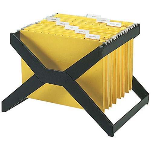 deflect-o X-Rack for Hanging Folders - X-Rack Letter/Legal Size Hanging File, Plastic, 16 x 12 x 11, Black