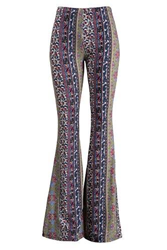 Vintage Bell Bottom Pants (Fashionomics Womens Boho Comfy Stretchy Bell Bottom Flare Pants (L, Vintage Green))