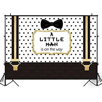 Amazoncom Funnytree 7x5ft Black And Gold Little Man Baby Shower