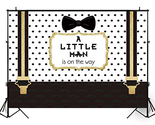 Funnytree 8X6ft Black and Gold Little Man Baby Shower Backdrop Boy Bow Tie Gentleman Party Background Mustache Polka Dots Photography Photo Booth Cake Table Banner