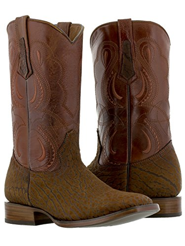 Texas Legacy - Men's Cognac Genuine Buffalo Bull Leather Cowboy Western Boots Square Toe 11 2E US