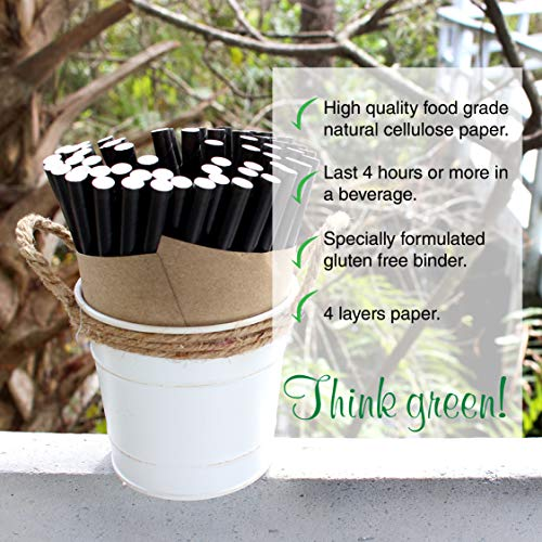 The Spice Lab Rhino White Drinking Eco-Friendly Biodegradable Paper Straws 7.75'', 6mm for Juice, Shakes, Cocktail, Tea, Soda, Milkshakes, Smoothies & Parties (Wrapped - 10000 Count) by The Spice Lab (Image #3)