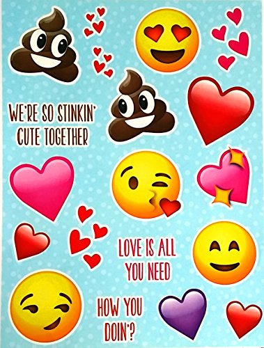 Emoji Emoticon Face Decal Sheet (19 Piece Decals) Incredible Window Student Clings - Reusable, Removable Vinyl Clings (Laptops, Windows, Fridges, Mirrors, Cars) - Laughing, Poop, Smiley, Kiss, More by Unknown