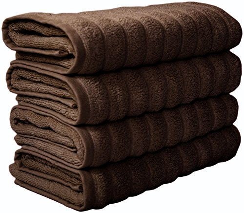 Classic Turkish Towels 4 Piece Luxury Hand Towel Set - 20 x 32 Inch Soft and Thick Large Bath Hand Towels Made with 100% Turkish Cotton (Chocolate) ()