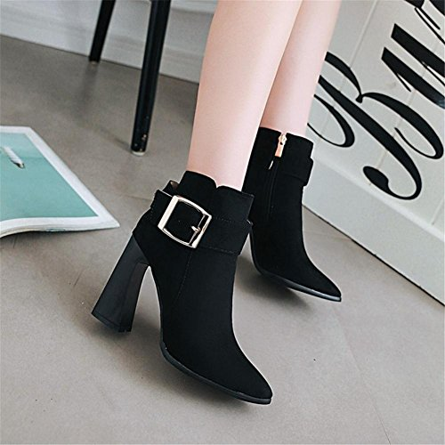 NVXIE Women's Short Boots Rough High Heel Pointed Toe Suede Belt Buckle Black Red Fall Winter Party Work EUR39UK665 gq4oiAbCl