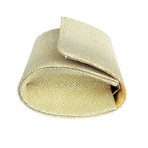 Elegant Evening Bag Glitter Clutch Handbags Gold Sparkle Wedding Womens Party 1xrw41qCZv