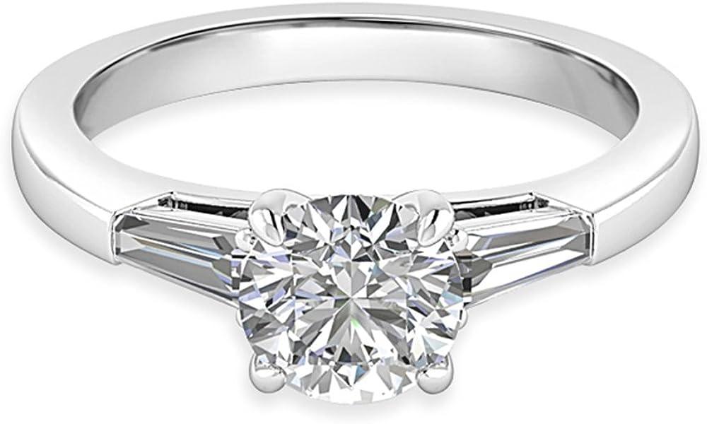 1,36Ct redondo diamantes Moissanite anillo de compromiso Plata de Ley Oro Blanco Acabado Tamaño I J K L M N
