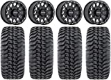 Bundle - 9 Items: Method 401 14'' Beadlock Black (4+3) Wheels 30'' Regulator Tires [4x156 Bolt Pattern 12mmx1.5 Lug Kit]