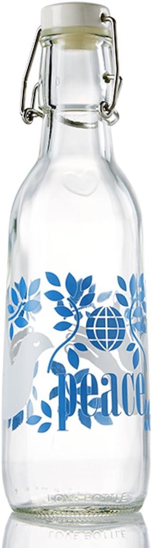 Love Bottle Peace Glass Bottle, Clear