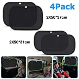 ADORIC Car Sun Shades for baby, Car Window Blinds for kids - 2 Pack 50 * 37 cm Plus 2 Pack 50 * 31 cm, Blocks Over 98% of Harmful UV