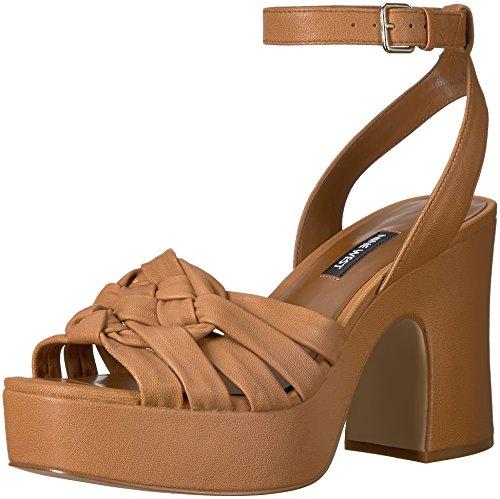 (Nine West Women's Fetuchini Leather Heeled Sandal, Dark Natural Leather, 8.5 Medium US)