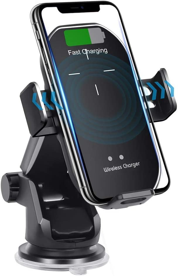 【2020 Version】 Wireless car Charger Mount 10W Qi Fast Charging Auto Clamping Car Mount Phone Holder Compatible iPhone 11 Pro Max/11 Pro/11/XS MAX/XS/XR/X/8P/8 Samsung S10+/ S10/S9+/S9/S8+/S8 (Black)