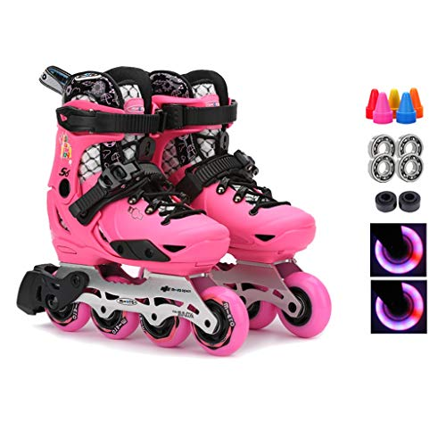 (Inline Skates Fun Flashing Children,Adjustable Recreational Roller Skates,Girls Boys Roller Blades Beginner, Suitable for 3-12 Years Old,Blue Pink (Color : Pink, Size : M (EU33-36)))