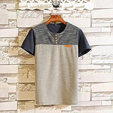 F/_Gotal Mens T-Shirts Fashion Summer Short Sleeve Patchwork Buttons Big and Tall Casual Tee Blouse Tops Shirt for Men
