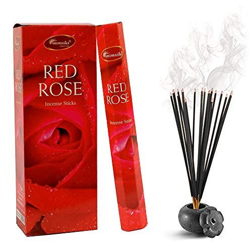 - Aromatika Red Rose Perfume Incense Sticks 6 Hexa Pack of 20 Sticks Each