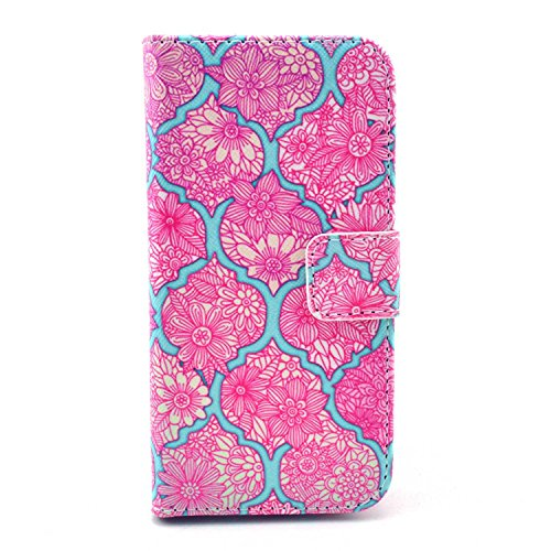 Galaxy S4 Mini Case,S4 Mini Case,Nancy's Shop (Latest Styles) Pattern Premium Pu Leather Wallet [Stand Feature] Type Magnet Design Flip Protective Credit Card Holder Pouch Skin Case Cover for Samsung Galaxy S4 Mini i9190 (built-in Credit Card/id Card Slot)- (NEW-flower Rose red pattern)