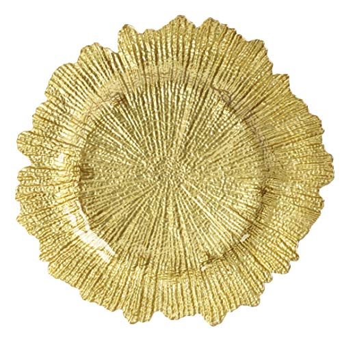 Koyal Wholesale Bulk Flora Glass Charger Plates, Gold Starburst Charger Plates, Gold, Set of 4 -