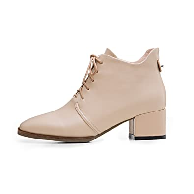 d4a7d1dab4834 Nine Seven Women's Lace up Ankle Booties - Chunky Heel Handmade Dress Boots,  Casual,