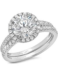 2.62 CT Round Cut Pave Double Halo Bridal Engagement Wedding Ring band set 14k White Gold