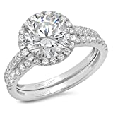 2.92 Ct Round Cut Pave Double Halo Engagement Wedding Bridal Anniversary Ring Band Set 14K White Gold, Size 5, Clara Pucci