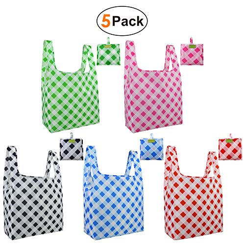 Grocery-Shopping-Bags-Ripstop Reusables Bags with Pouch Set of 5 Large Shopping totes in Bulk Waterproof and Machine Washable foldable recycle bags for women girls sturdy cute eco friendly recycle