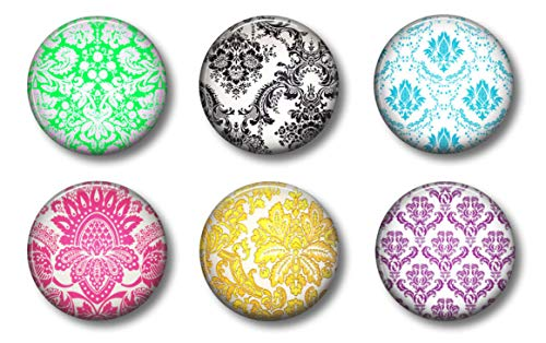 (Colorful Round Magnets - Damask Set of 6 - Cute Locker Magnets For Teens)