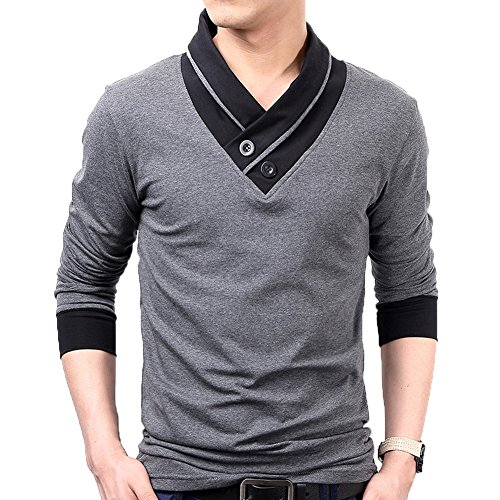 Cotton Muscle Shirt (Mens Cotton Casual V-Neck Slim Muscle Henley Long Sleeve T- Shirts(Gray-S))