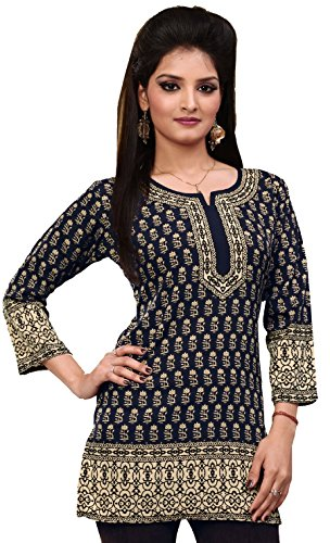 Indian Tunic Top Womens Kurti Printed Blouse Kurta India Clothes – M…Bust 36 inches, Black