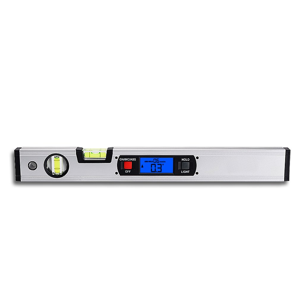 Neigungsmesser, RISEPRO Digitale Neigungsmesser Winkel Finder Gauge Spirit Level aufrecht Magnet 360 ° Range 416 mm lang mit Hintergrundbeleuchtung 82112 S