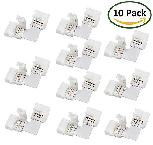 LitaElek L- Form Schnellverbinder LED Eckverbinder LED Strip Connector RGB 5050 LED Lichtstreifen Steckverbinder, 10mm Eckverbinder (10 Stück)