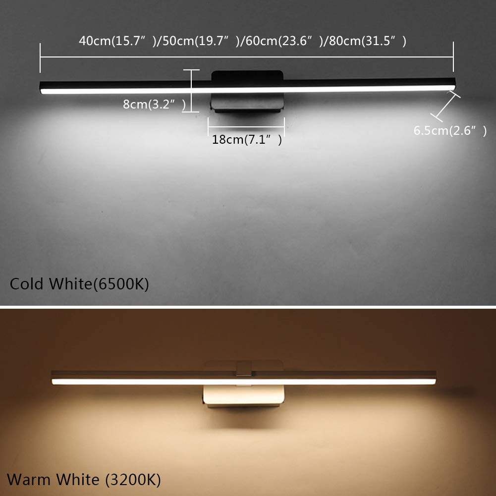 VinDeng Blanco Simple LED Lámpara espejo Para Cuarto de baño, 6W ...