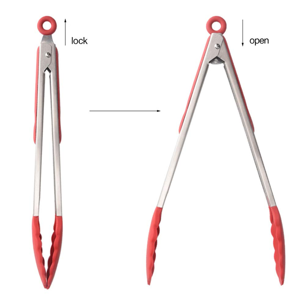 """430 Stainless Steel BBQ Tongs,3 Pack 7/""""//9/""""//12/"""" Kitchen Tongs With Anti-scalding Silicone Tips"""