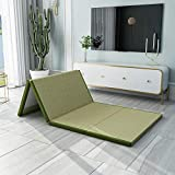 SANSAN 80x180 cm(31x71 Inch) Tatami Floor Mat,Twin Folding Thick Coir Mattress Pad Single Double Bed,Breathable Skin-Friendly Mattress Topper - Brown Green 150x200cm(59x79inch)