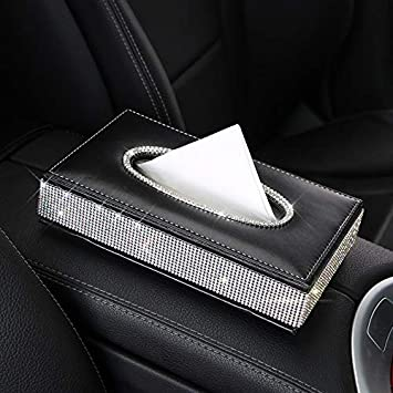 Color Name : Anti slip pad Chornlily Car tissue box Bling Crystal car tissue Box PU Leather Auto Paper Box Holder Cover Case Tray for Home Office Automotive