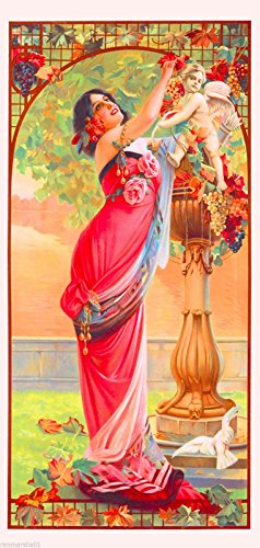 1894 Peacock Series III Woman Arbor Classic French Nouveau by artist Alphonse Mucha Vintage France Travel Advertisement Picture Poster Print. Picture measures 5 x 13.5 inches.