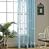 VOGOL 2 Pieces Beautiful Sheer Window Elegance Curtains/drapes/panels/treatments, Embroidered Bird Rod Pocket Sheer Curtain for Living Room Bedroom, 60″ w X 96″, Blue Review