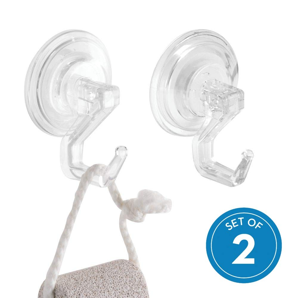 InterDesign Power Lock Bathroom Shower Plastic Suction Cup Hooks for Loofah, Towels, Sponges, and More, Set of 2, Clear