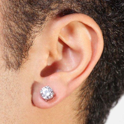 Surgical Stainless Steel Studs Earrings Men Women Round Basket Setting Cubic Zirconia Hypoallergenic Earrings