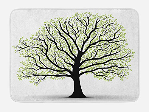 Ambesonne Tree of Life Bath Mat, Big Old Lush Tree with Lot of Leaves and Branches Nature Growth Eco Art, Plush Bathroom Decor Mat with Non Slip Backing, 29.5